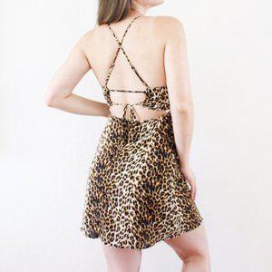 NWOT Cheetah Print Open Back Mini Dress